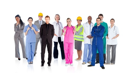 boiler suit: Different careers on white background