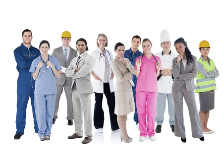 boiler suit: Large group of workers of different industries on white background Stock Photo
