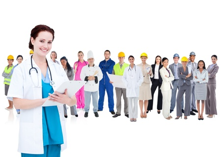 career fair: Pretty doctor standing in front of diverse career group on white background