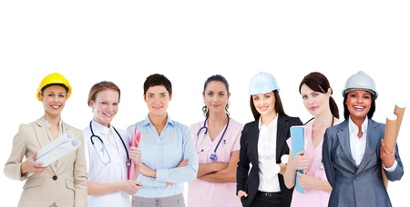 Happy female workers of various industries on white background photo