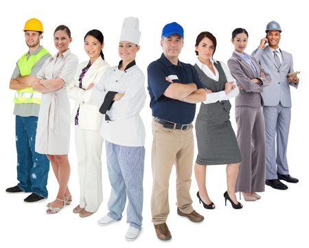 Different types of workers standing against white backgorund Stock Photo