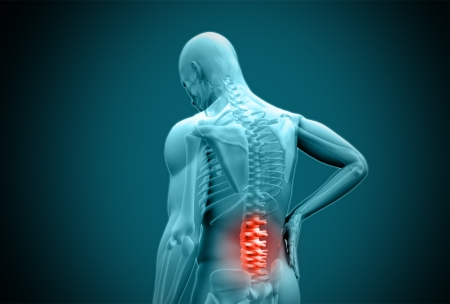 back to back: Digital blue human rubbing highlighted back pain on teal background
