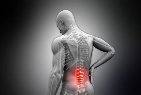 vertebrae: Digital grey human rubbing highlighted red back pain on black vignette background