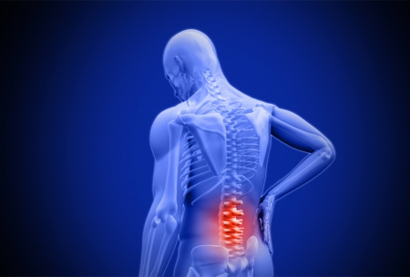 massaging: Digital blue human rubbing highlighted red lower back pain on dark blue background