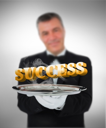 Waiter offering success on vignette background photo
