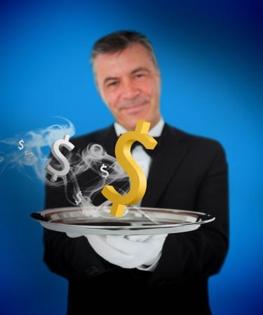 grey hair: Waiter offering smoking dollars on blue background Stock Photo