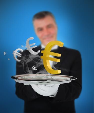 Waiter offering smoking euro symbols on blue background photo