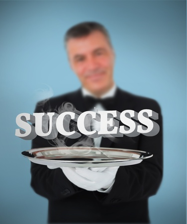 Waiter offering smoking success on silver tray on blue background photo