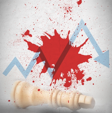 Blood spatter with blue loss arrow and fallen white chess piece photo