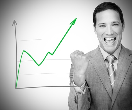 Businessman happy with graph  photo