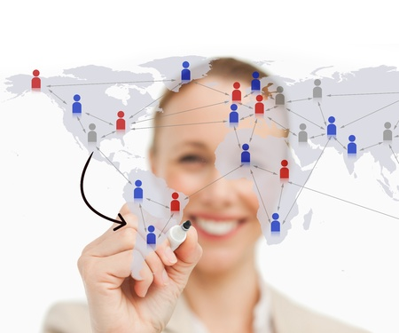 linking: Businneswoman linking figures on world map