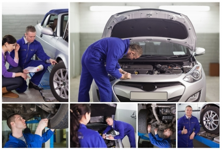 bonnet up: Collage of mechanics at work in the garage and with a customer