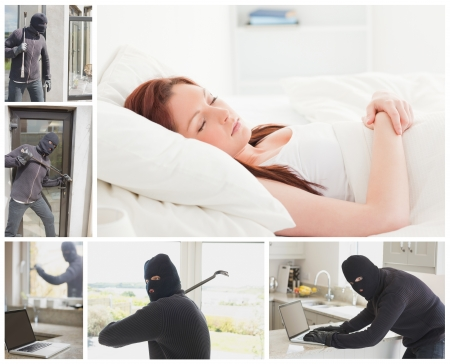 Collage of burglar breaking and entering home while woman is sleeping Stock Photo - 20457019