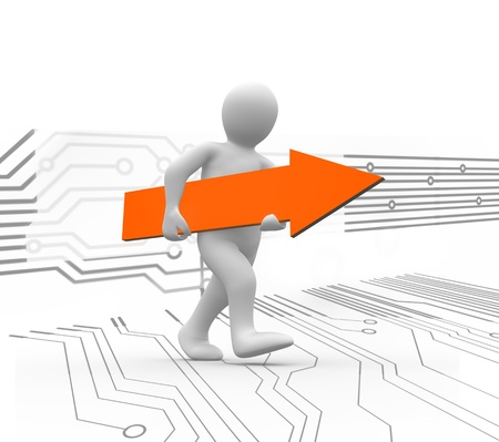 human representation: Human representation walking while holding orange arrow sign with circuit board background