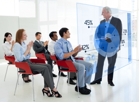 stakeholder: Business people clapping stakeholder standing in front of blue pie chart interface in a meeting