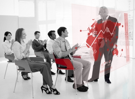 stakeholder: Business people clapping stakeholder standing in front of red map futuristic interface in black and white