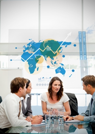 conference meeting: Business workers using blue map diagram interface in a meeting