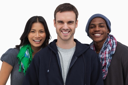 casual hooded top: Stylish young people smiling at camera on white background