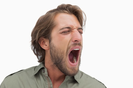 Man shouting in a shirt on white background