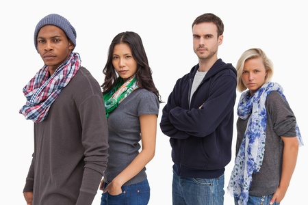casual hooded top: Stylish young people in a row on white background
