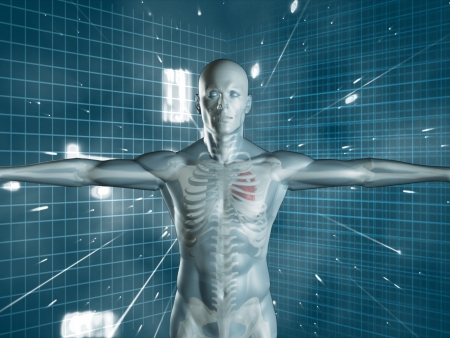 Transparent human medical representation standing over futuristic background in blue and white Stock Photo - 20499628
