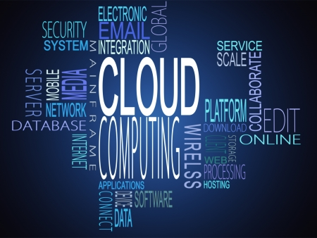 Cloud computing terms together on blue background photo