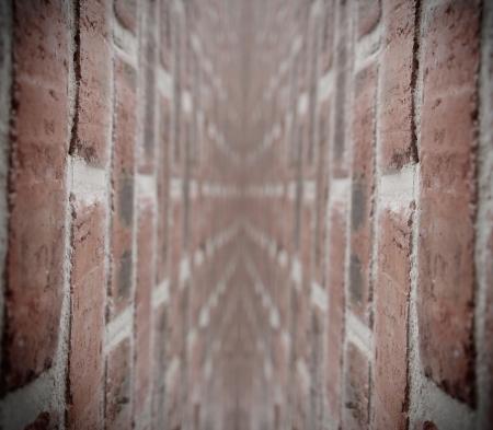 cul de sac: Corridor with bricks wall texture Stock Photo