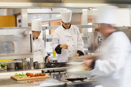레스토랑 주방에서 직장에서 바쁜 요리사 스톡 콘텐츠