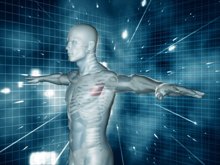Medical human representation standing with arms raised on blue and black futuristic background photo
