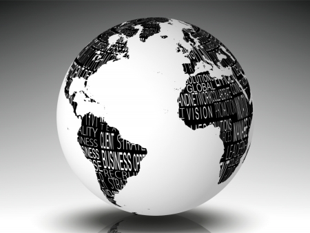White earth with business terms on grey background