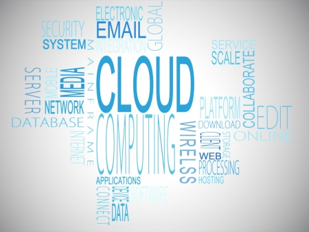 Cloud computing terms in blue on white background photo