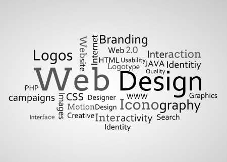 interactivity: Group of web design terms on white background