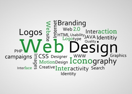 Group of green web design terms on white background photo