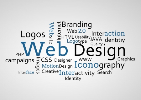 interactivity: Group of blue web design terms on white background Stock Photo