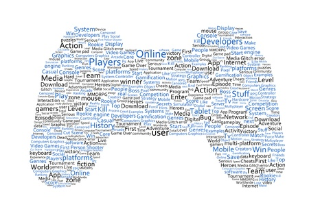 Various blue words representing a joystick on white background photo