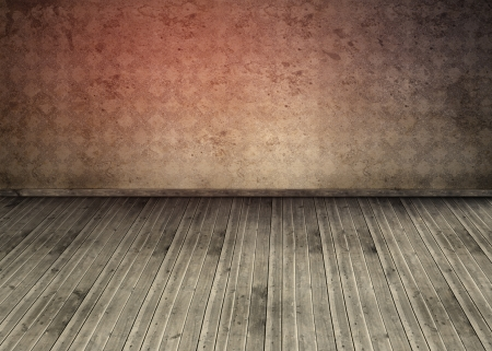floorboards: Empty room with dirty floorboards  and outmoded wallpaper Stock Photo