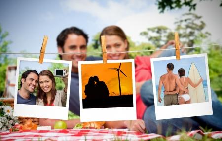Zdjęcia seryjny wakacji scen błyskawiczne z kołku wisiał na linii bielizny z para o piknik na tle Zdjęcie Seryjne