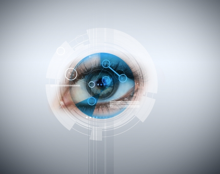 identifying: Woman having an eye recognition on grey background