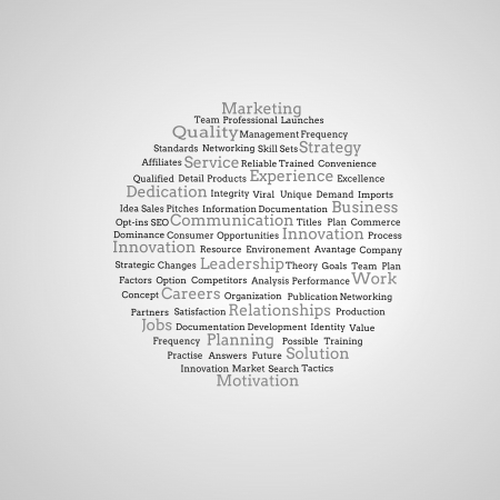 Group of marketing terms on grey background photo