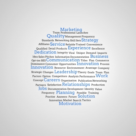 Group of blue marketing terms on grey background photo