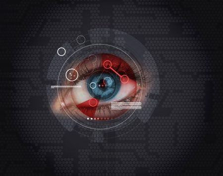 futuristic woman: Woman having an eye authentication on black background Stock Photo