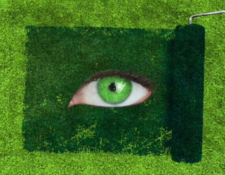 Paint roller revealing a green eye over grass texture photo