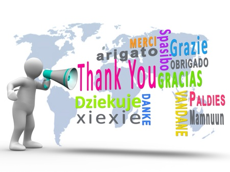 merci: White figure revealing thank you in different languages with a megaphone with map on the background