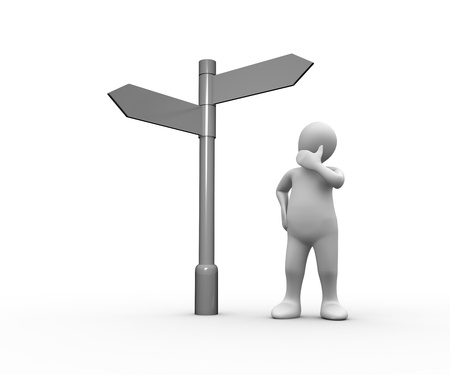 human representation: Confused white human representation looking at blank signpost on white background