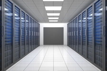 network server: Empty hallway of tower servers in data centre Stock Photo