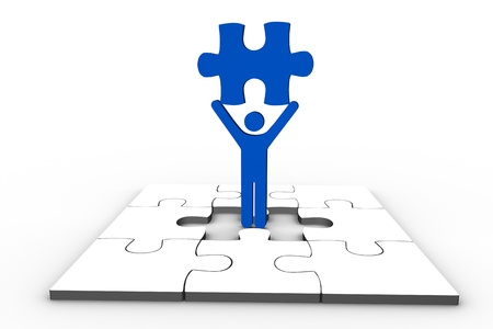 human representation: Blue human representation holding jigsaw piece over unfinished puzzle on white background Stock Photo