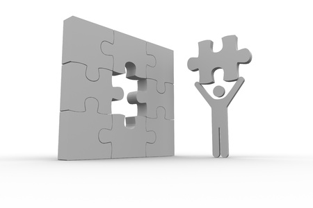 human representation: White human representation holding the missing jigsaw piece on white background Stock Photo