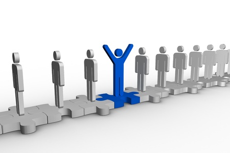 meshed: Meshed jigsaw pieces with human forms with one in blue raising arms on white background Stock Photo