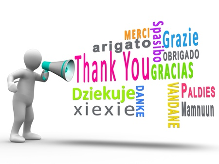 linguistics: White human figure revealing thank you in different languages with a megaphone Stock Photo