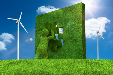 resolving: Little character resolving a puzzle with the sky and wind turbine in background